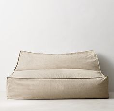 distressed canvas wide bean bag lounger