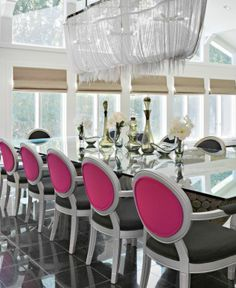 Black White Pink Dining Room Decor -- like the style of chair and the different color on the back