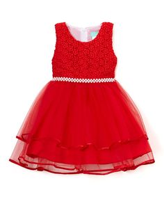 Red Floral Tier Overlay A-Line Dress