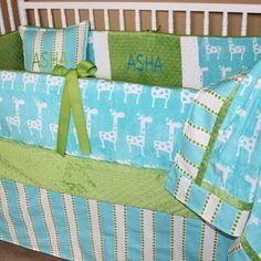 Custom baby bedding turquoise Giraffe  Custom by BabiesNBaubles