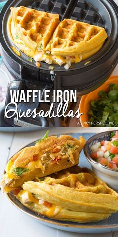 Easy Waffle Iron Quesadillas – A classic quesadilla recipe with a twist! Tex Mex… Easy Waffle Iron Quesadillas – A classic quesadilla recipe with a twist! Tex Mex fillings folded into a crisp zesty waffle make a unique hand-held meal! via Sommer Brunch Recipes, Gourmet Recipes, Mexican Food Recipes, Breakfast Recipes, Cooking Recipes, Recipes Dinner, Healthy Recipes, Waffle Maker Recipes, Sandwich Maker Recipes