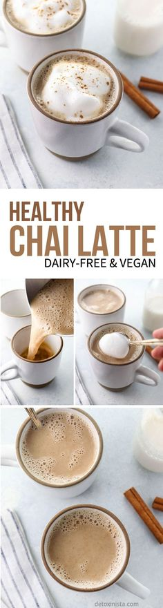 This Healthy Chai Latte recipe is dairy-free and naturally sweetened, made with pure maple syrup and almond milk. It takes less than 5 minutes to prepare on the stove and is caffeine-free! #dairyfree #healthyrecipe via @detoxinista #Vegetariancooking