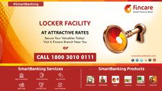 Locker Facility At Attractive Rates! Secure your valuables today. Visit a Fincare Branch near you. Or call our toll free number: 1800 3010 0111  Visit: www.fincarebank.com Finance Bank, Accounting, Lockers, Number, Free, Locker, Closet, Cabinets, Cubbies