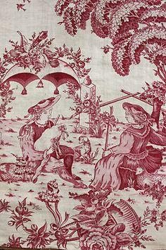 Gorgeous 18th century valance fabric ~ block printed textile ~ stunning romantic design ! ~