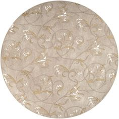 "Surya Goa G-44 Transitional Hand Tufted 100% New Zealand Wool Doe Skin 7'9"" Round Floral Area Rug *** You can get additional details at the image link."