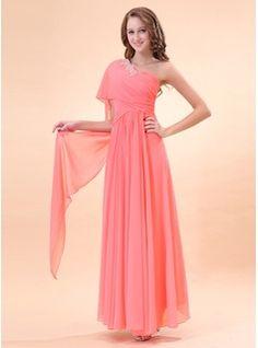 Vestidos princesa/ Formato A Um ombro Chá comprimento Chiffon Vestido de Férias com Pregueado Perolização (020014396) - JJsHouse