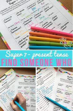 Find Someone Who - Super 7 (present) - for novice Spanish - Mis Clases Locas