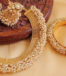 Buy LOVELY ANTIQUE  DESIGNER PEARL NECKLACE SET WITH BANGLES necklace-set online