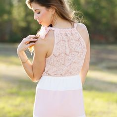 pretty in pink lace dress Hazel and Olive     perfect Easter dress, light pink color block