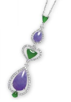 A JADEITE AND DIAMOND PENDENT NECKLACE   Suspending a series of varied-shaped jadeite cabochons of bright emerald green colour and very good translucency or intense lavender colour and good translucency, surrounded by brilliant-cut diamonds, joined to a detachable collet-set diamond neckchain, mounted in 18k white gold, largest cabochon approximately 17.4 x 10.6 x 5.0 mm, 40.0 cm long