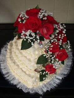 Valentine wedding cake from 2010...no fondant bases in those days!