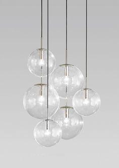 Massive Huge Glasshutte Limburg Ceiling Mount Cascade Chandelier 6 Globes Spheres Lamp Light Fixture - Eames Panton Miller Colani Era