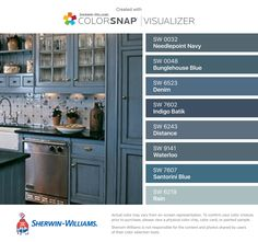 I found these colors with ColorSnap® Visualizer for iPhone by Sherwin-Williams: Needlepoint Navy (SW 0032), Bunglehouse Blue (SW 0048), Denim (SW 6523), Indigo Batik (SW 7602), Distance (SW 6243), Waterloo (SW 9141), Santorini Blue (SW 7607), Rain (SW 6219).