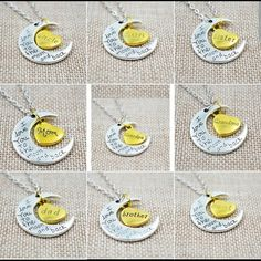 I Love You To The Moon And Back Silver Necklaces I Love You To The Moon And Back Silver Necklace Vintage Family Necklaces Pendants Fashion Women Jewelry   IF YOU LIKE ANY JUST BUY THIS POST  AND COMMENT  THE  ONE YOU WANT ..   THEY ARE ALL AVAILABLE  .. Accessories