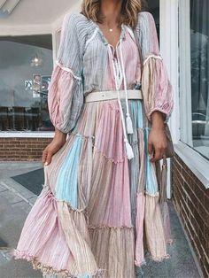 Mid-Calf Three-Quarter Sleeve V-Neck Color Block A-Line Dress