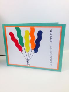 Green balloons card