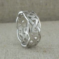 Sterling Silver 8.2 mm Celtic Knot Wedding Band made in Ireland Sizes 6.5 and 13