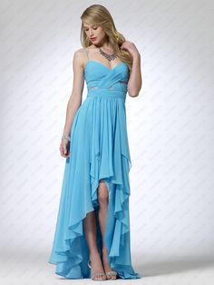 Turquoise chiffon dress with hi-low hem. Pleated cross over bust with sheer mesh. 63 inch body length polyesterImportDry clean only Bridesmaid Dresses, Prom Dresses, Formal Dresses, Long Dresses, Chiffon Dress, Strapless Dress Formal, Blue Evening Dresses, Prom Long, Easter Dress