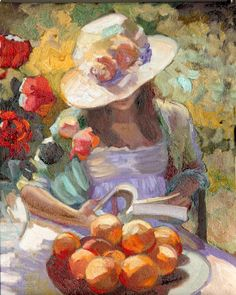 """""""Summer of Innocence"""" by American artist Sally Rosenbaum Art, posters and prints of a woman or women reading repinned by www.AboutHarry.com"""