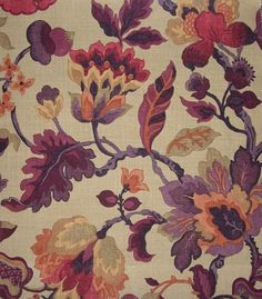 Amanpuri Linen Fabric Printed floral in aubergine and old gold linen