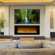 "Touchstone Sideline 60"" Recessed Electric Fireplace - Wall Insert Design (80011) fits flush on the wall for a clean, contemporary look. Realistic flames with five settings add ambiance to any room. Pr"