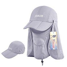b02952d9b71 ICOLOR Sun Caps Flap Hats 360° Solar Protection Folding UPF 50+ Sun Cap  Removable Neck Face Flap Cover Caps for Baseball