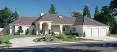 A tall arched portico enhances the elegant exterior and allows for a grand entrance in this spectacular single story home.  Ranch House Plan # 441108.