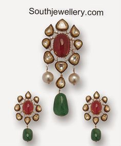 uncut diamond and ruby pendant set