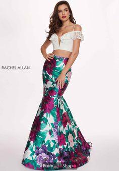 058f91f12f3 Rachel Allan Two Piece Floral Mermaid Dress 6449