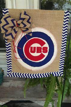 Burlap Garden Flag Chicago Cubs Garden by SmallTownHatsandMore