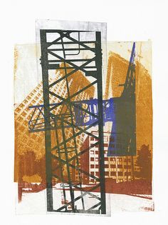 Building cranes combined with of modern high architecture,The Hague city nr - collage art print - monotype technique by Hilly van Eerten, 2012 - also for sale in high resolution image, sent by WeTransfer: to order your own giclee fine art print Fantasy Landscape, Urban Landscape, Landscape Art, Crane Drawing, Beautiful Landscape Wallpaper, Architectural Prints, Architectural Features, Building Art, Tower Building