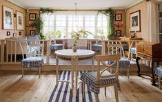 Kika in i Carl Larsson-gården i Sundborn Swedish Interior Design, Swedish Interiors, Carl Larsson, Visit Sweden, Outdoor Furniture Sets, Outdoor Decor, Dining Table, Garden, Design History