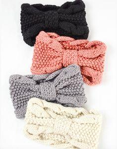 Knitted Headband, Head Wrap Headband, Knitted Hats, Crochet Headbands, Baby Headbands, Crochet Baby, Knit Crochet, Free Crochet, Winter Headbands