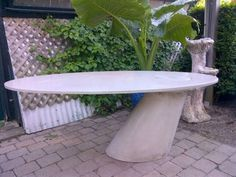 Modern Oval Concrete Desk with Offset Base - Mecox Gardens