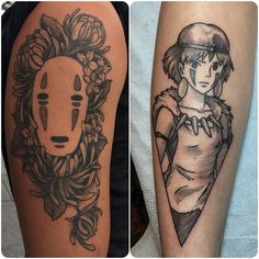 Healed and fresh Miyazaki tattoos :)