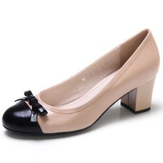 Women's round toe patent leather colour block pumps with mid height thick heels and thin patent bow