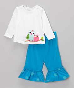 Take a look at this Blue & White Mama Owl Tee & Pants - Infant, Toddler & Girls by Victoria Kids on #zulily today!