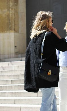 Textured coat & celine bag #style #fashion #streetstyle