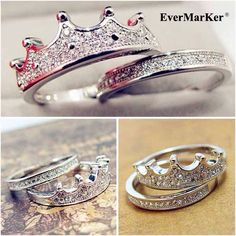 #Evermarker Gorgeous 925 Sterling Silver crystal inlaid crown shape ring sets