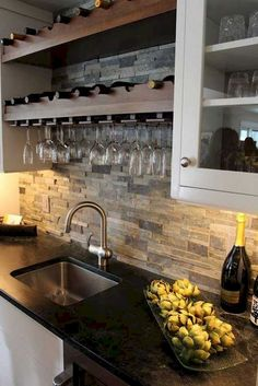 A kitchen backsplash is an important part of the kitchen decoration. It has an important role to increase the beauty of kitchen decor and keep a good condition of the kitchen wall. Kitchen Bar Design, Kitchen Backsplash Designs, Beautiful Kitchens, Cool Kitchens, Kitchen Remodel, Kitchen Decor, Elegant Kitchens, Rustic Kitchen, Kitchen Renovation