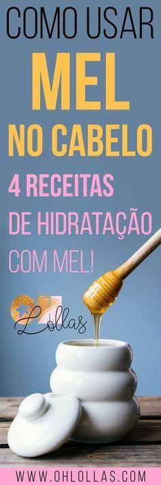 4 receitas de máscara de hidratação caseira com mel. Os benefícios do mel para o cabelo são incríveis, vale testar esse produto natural para tratar os fios no projeto rapunzel (acelera o crescimento do cabelo), na transição capilar (mel é ótimo para cabelos cacheados e crespos) e no cronograma capilar. Receitas caseiras de hidratação. #cabelo #cabelos #hidrataçãocaseira #hidrataçãoquealisa #mel #honey