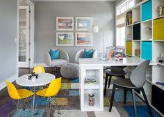 Trendy kids' playroom and home office combo idea [Design: Refined LLC / Studio M]