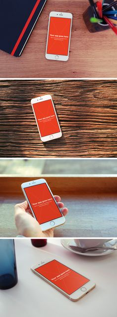 Here's a set of 4 iPhone 6 photo mock-ups perfect to use in promo websites, press kits, App Store screenshots...