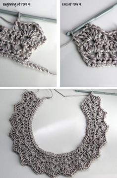 21 DIY Collar Necklace Ideas Add a chain or ribbon for a different look: weave through the crochet pattern. I wish this had a pattern! Crochet Collar Pattern, Col Crochet, Crochet Lace Collar, Learn To Crochet, Crochet Stitches, Crochet Patterns, Crochet Necklace Pattern, Crochet Crafts, Crochet Projects