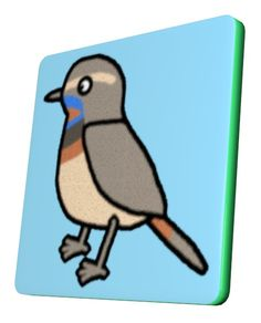 Bluethroat Square Coaster / #Tableware #Animal #Bird #オガワコマドリ