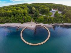 Circular Infinite Bridge provides panoramic views in Aarhus, DENMARK
