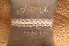 Rustic Heart Gray burlap personalized Wedding by BlessedinLove, $35.00