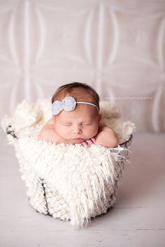 Chiffon Bow Headband in Gray - Skinny Elastic - Newborn Baby to Adult