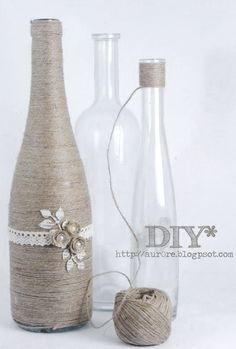 cute craft idea: old bottles wrapped in twine Bottles Twine Bottles, Old Bottles, Glass Bottles, Wrapped Wine Bottles, Beer Bottles, Vintage Bottles, Yarn Bottles, Empty Liquor Bottles, Recycle Bottles