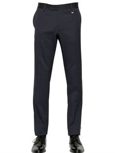 LORDS & FOOLS - 17.5CM STRETCH WOOL BLEND SERGE TROUSERS - LUISAVIAROMA - LUXURY SHOPPING WORLDWIDE SHIPPING - FLORENCE